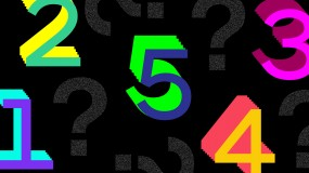 An abstract illustration showing  the numbers 1-5 and question marks
