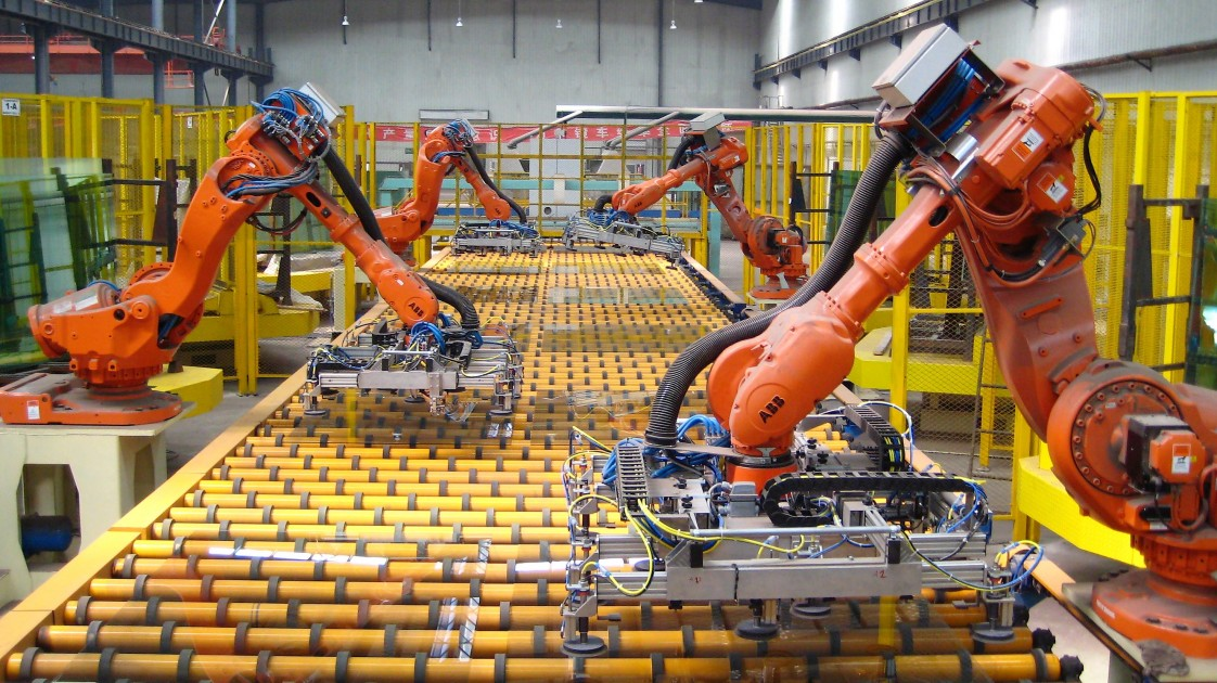 Robotic arms in factory