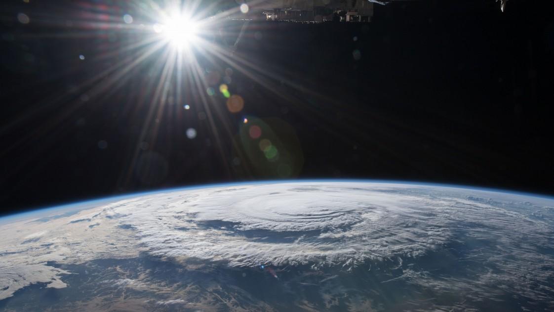 A satellite image of Hurricane Florence as it makes landfall near North Carolina.