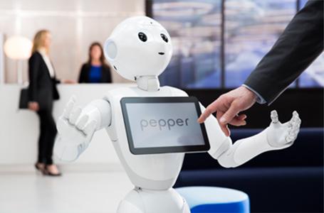 Pepper, a hospitality bot developed by SoftBank Robotics.