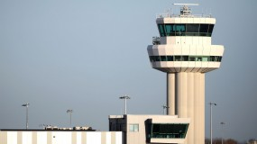 A view of the control tower as a drone causes disruption to flights at Gatwick Airport on December 20, 2018 in London, England
