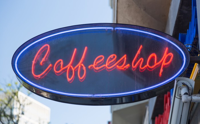 image of a neon coffee sign at a cafe in Amsterdam