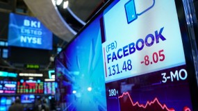 An image of a screen showing the Facebook stock price