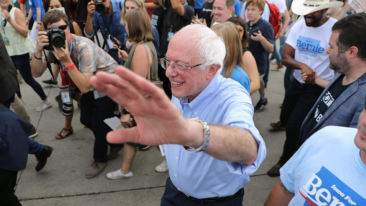 Democratic presidential candidate Sen. Bernie Sanders waves to supporters in Iowa last summer.