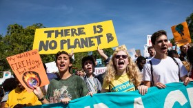 Protesters at a Global Climate Strike protest on September 20, 2019 in Washington, United States