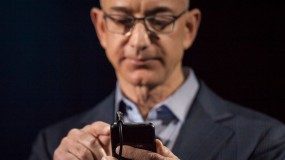 Jeff Bezos on a cell phone