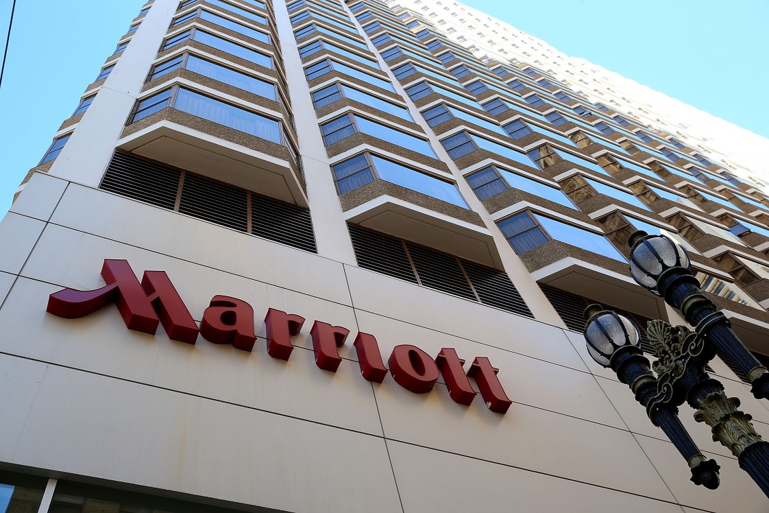 The Marriott logo on a building