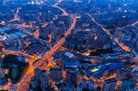 Long exposure night photo of traffic in Shanghai