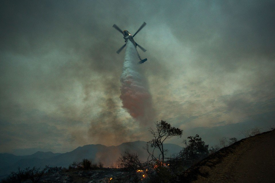 Photo of a helicopter extinguishing a forest fire