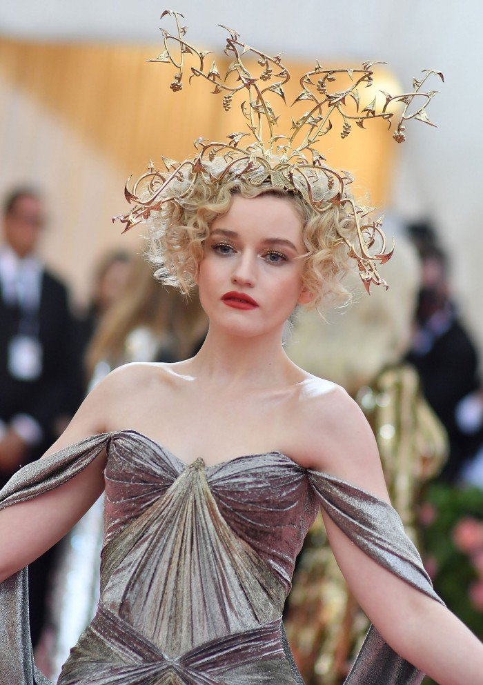 An image of Julia Garner in a 3D printed headdress