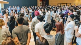 Google employees in Singapore gather to protest