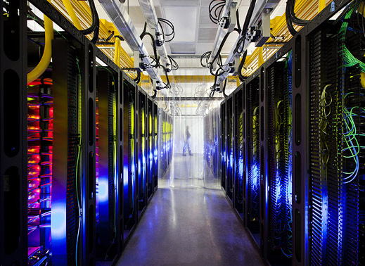 Servers inside a Google data center in Council Bluffs Iowa