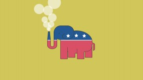 An illustration of the GOP elephant with nuclear chimney for a trunk