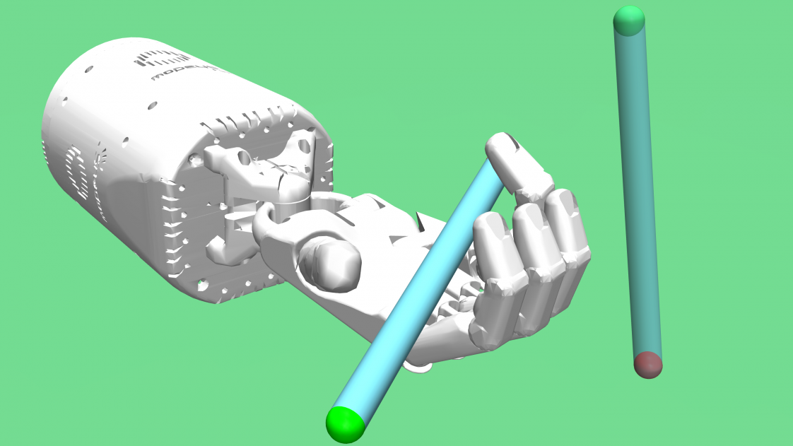 Computer graphic of a mechanical hand manipulating a pen, with another pen floating nearby