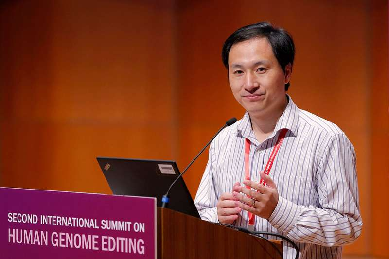 He Jiankui speaking at the conference