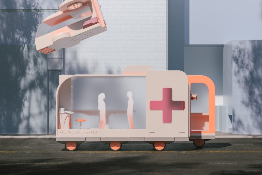 Rendering of Ikea's health office on Wheels