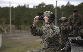 A US marine tests an augmented reality headset