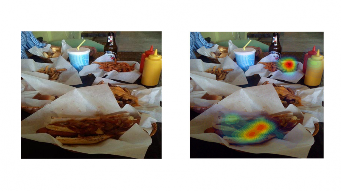 Photo of hot dogs, and the same photo with a heat map on the hot dog
