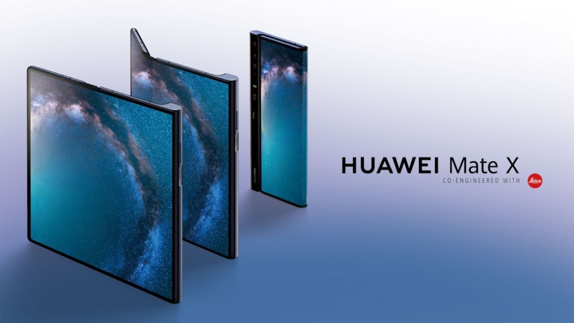 The Huawei Mate X folded, unfolded, and half folded