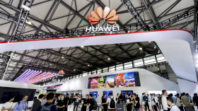 Photograph of Huawei booth