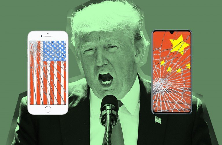 A photo illustration of Donal Trump behind a shattered iPhone and Huawei smartphone