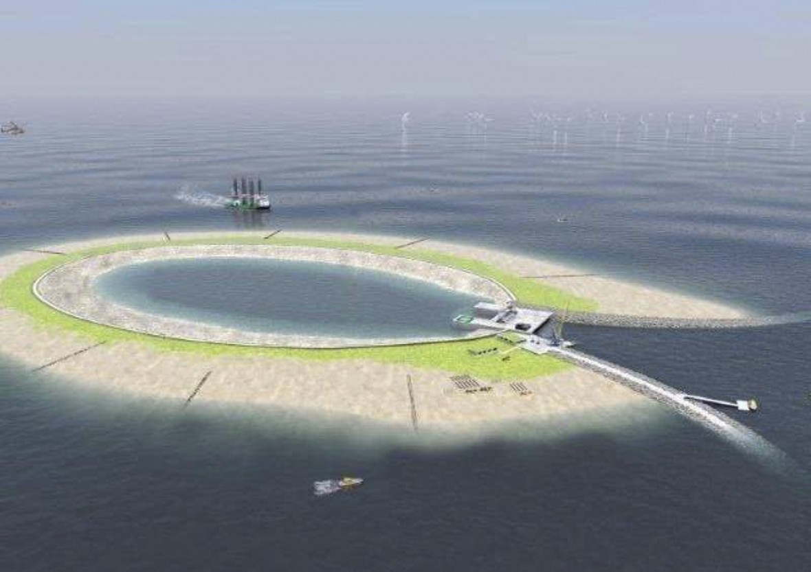 A Manmade Island to Store Wind Energy