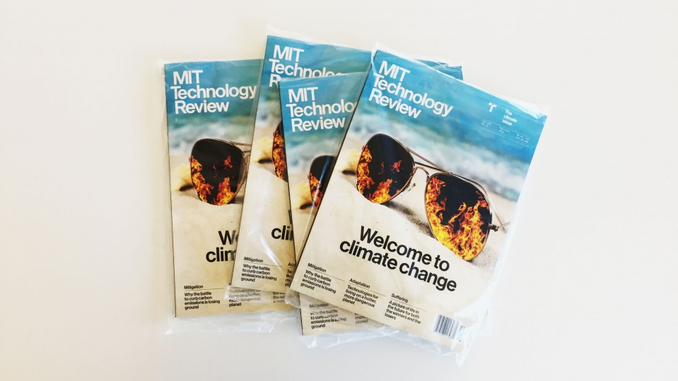 A photo of The May/June Climate issue in plastic packaging