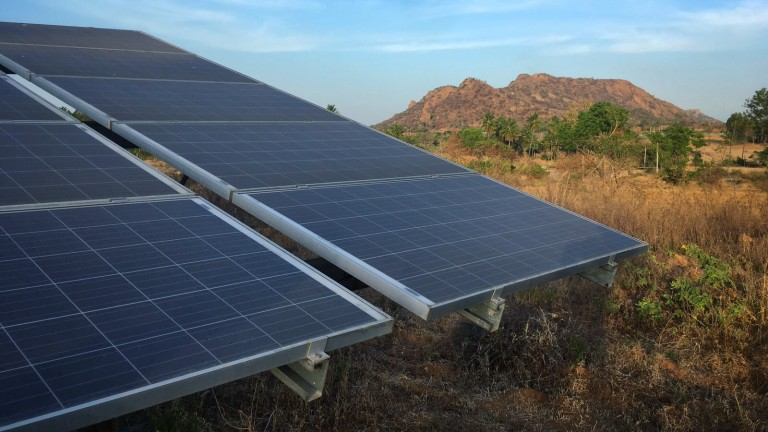 Solar panels on a farm in Karnataka.