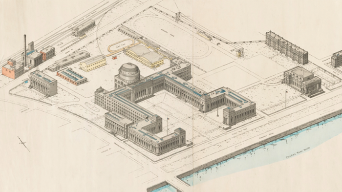 An archival drawing of the MIT campus