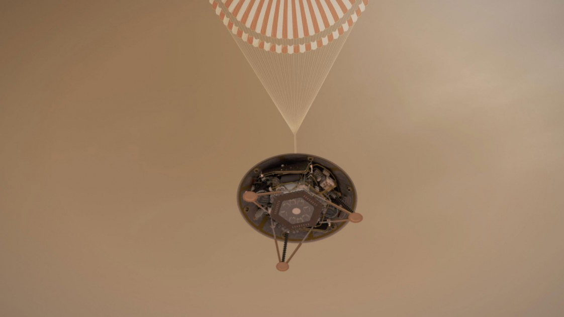 An artist's impression of the InSight lander as it deploys its parachute