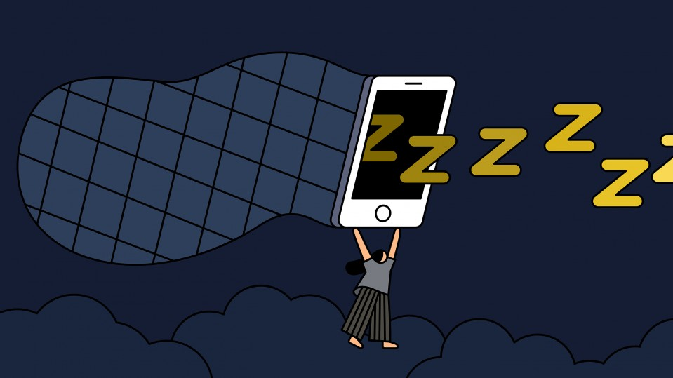 Conceptual illustration of a woman catching z's in a net that looks like a smartphone.
