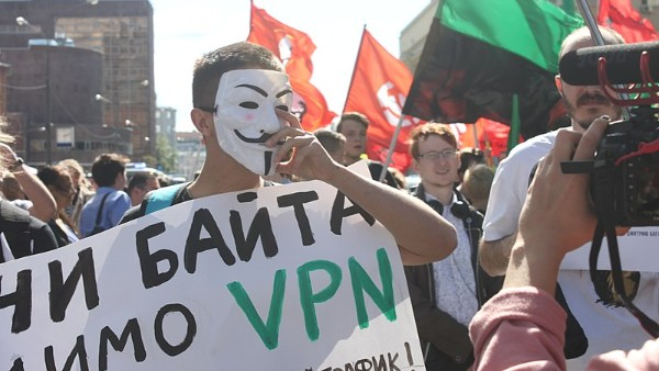 A protest in Moscow against crackdowns on internet freedom