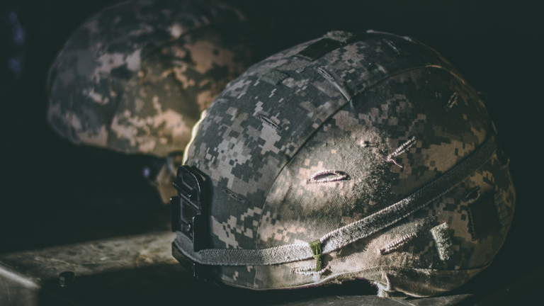 Image of military helmets.