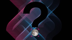 An illustration showing a question mark and the moon