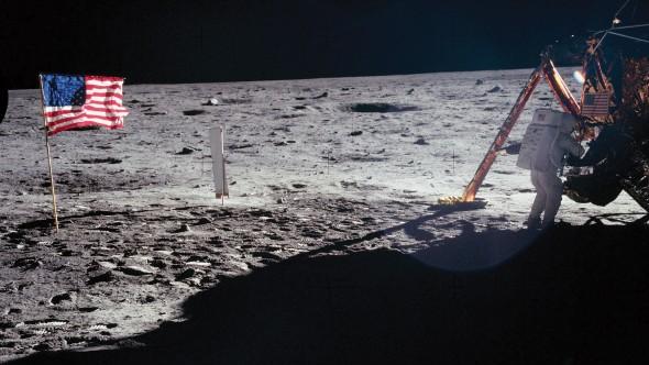 An image of an Apollo XI astronaut on the moon