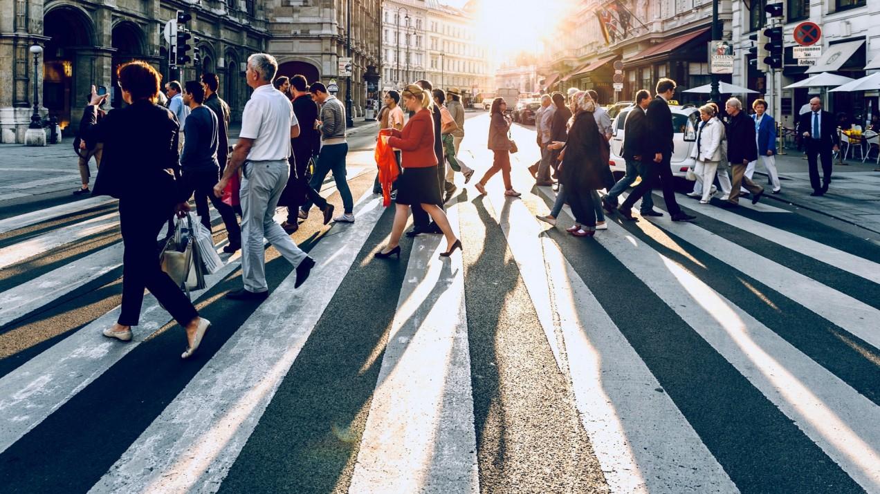 People crossing a street.