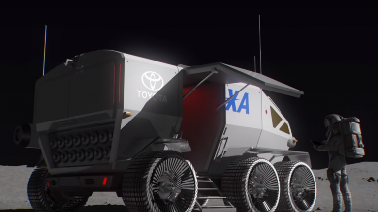 Gif of a rendering of the rover on the moon.