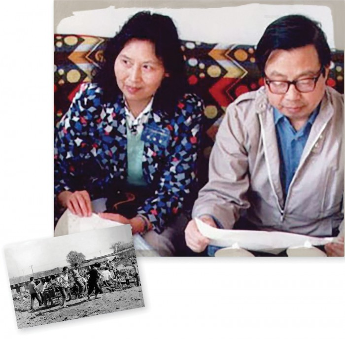 Historical photo 1970s USTC students laboring in Hefei during the Cultural Revolution. Second photo showing Fang and his fellow physicist wife, Li Shuxian.