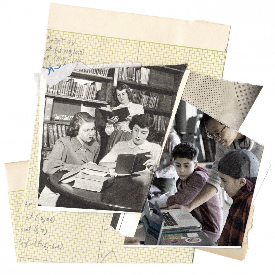 Conceptual collage illustration of old and new education technologies, includes vintage photography.