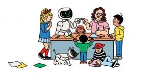 Conceptual illustration of kids playing AI Bingo with the researchers and a robot