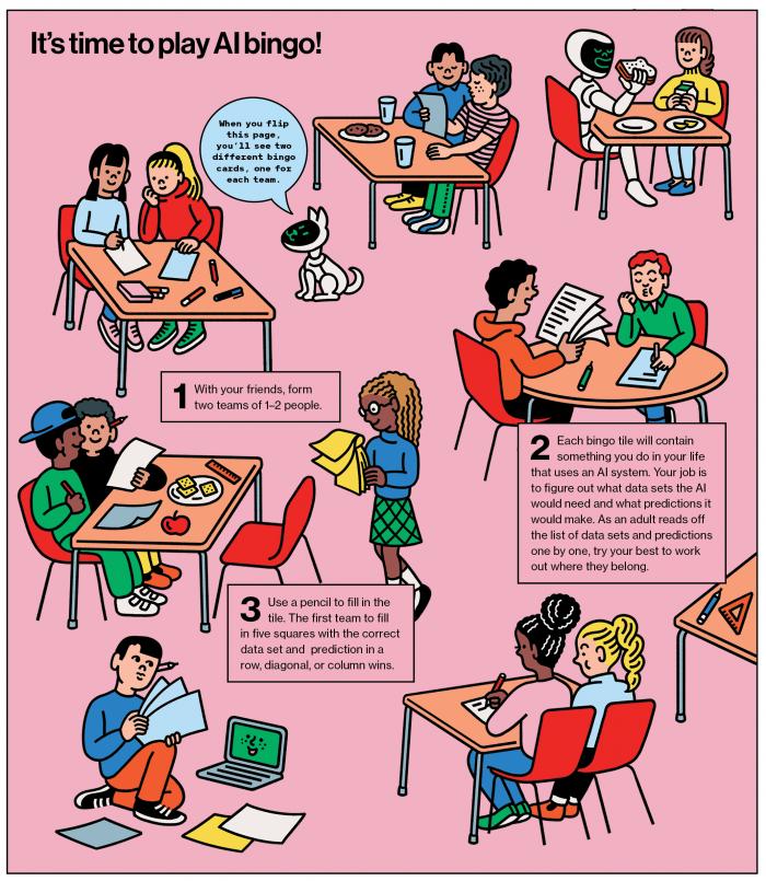 Comic style illustration of bingo instructions