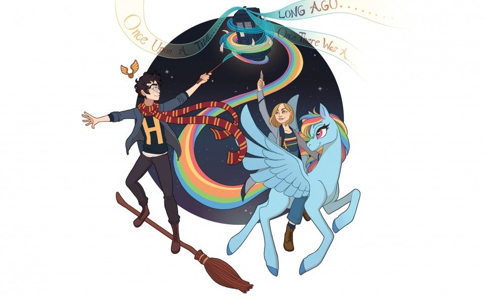 conceptual illustration of Harry Potter, Dr. Who and a rainbow My little pony all working together to float the tardis in the sky