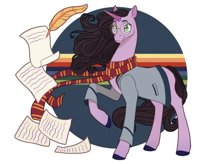 conceptual illustration of my little pony wearing a Harry Potter scarf