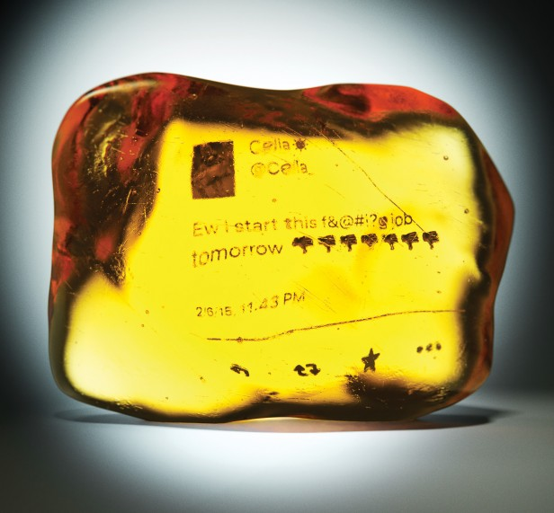 conceptual illustration of a tweet trapped in amber