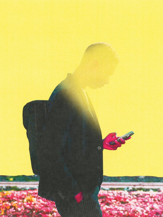 conceptual illustration of a mans face being obscured by his phone