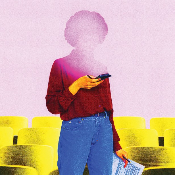 conceptual illustration of a person with their phone obscuring their face