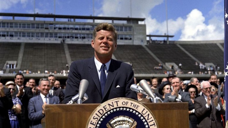 President John F. Kennedy speaking on Sept. 12, 1962 at Rice Stadium in Houston, Texas