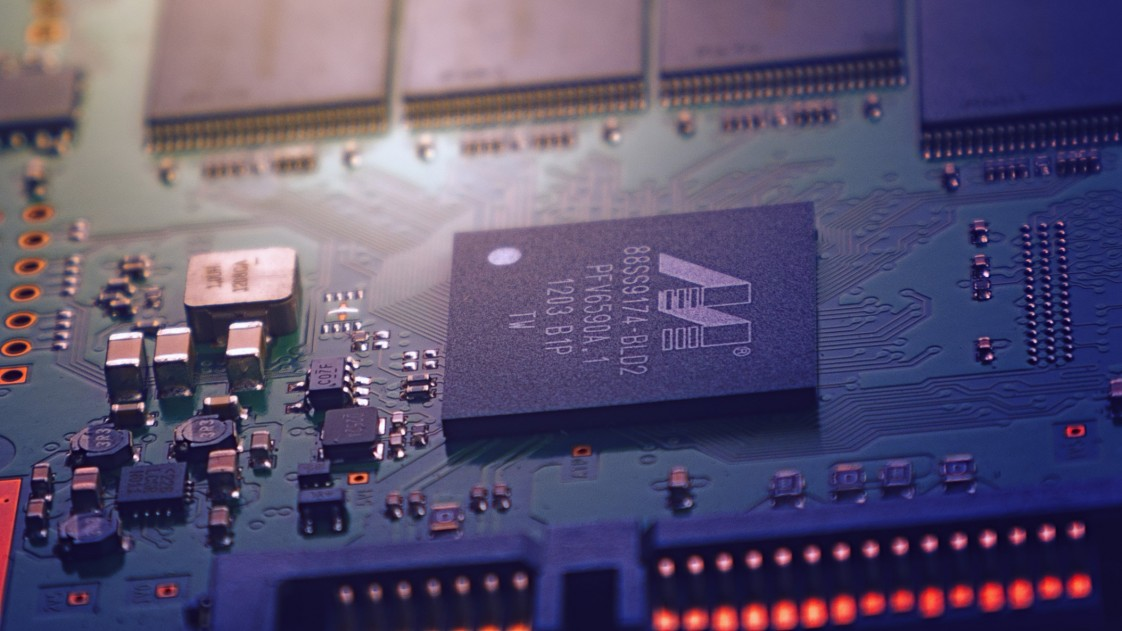 A photo of a computer chip