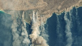 Fires on Australia's Kangaroo Island have produced thick clouds of smoke.