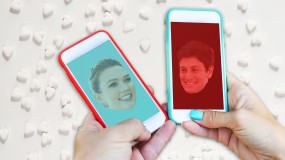 image of karlie kloss and josh joshua kushner on smartphones with teal and red background bedford app thrive donald trump jared kushner ivanka trump